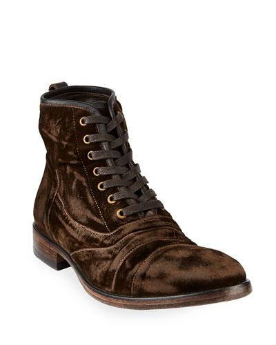 Men's Fleetwood Velvet Lace-Up Boots