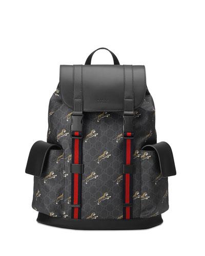 Men's GG Supreme Tiger-Print Backpack