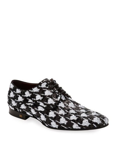 Men's Two-Tone Patterned Sequin Derby Shoes