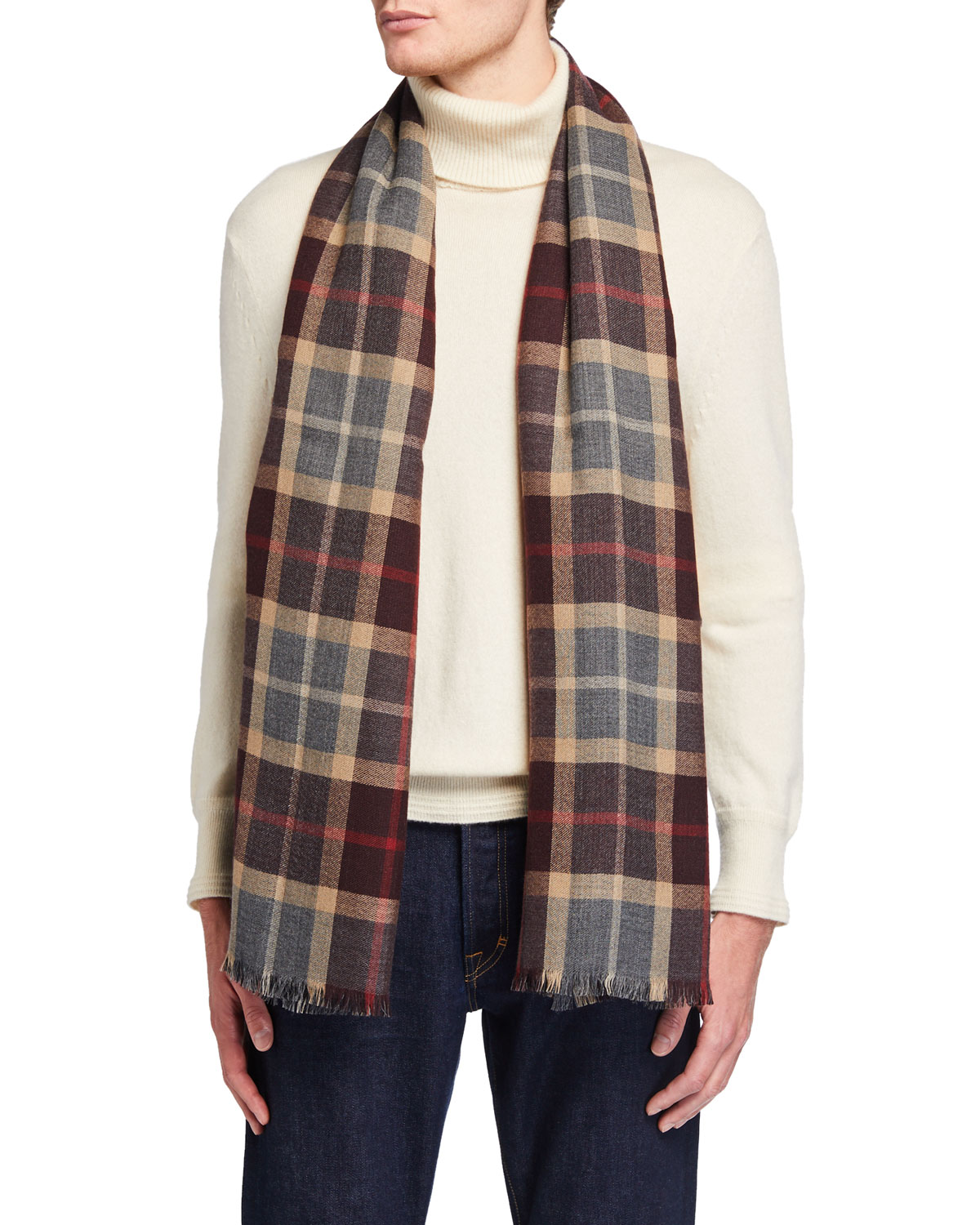 Loro Piana Men's Baily Plaid Cashmere Scarf In Red/gray