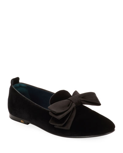 Men's Velvet Loafers with Bow