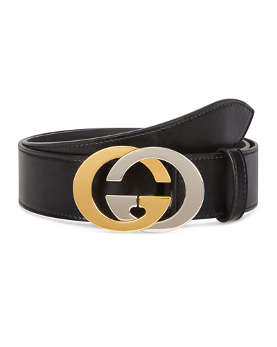 Men's Two-Tone GG Leather Belt