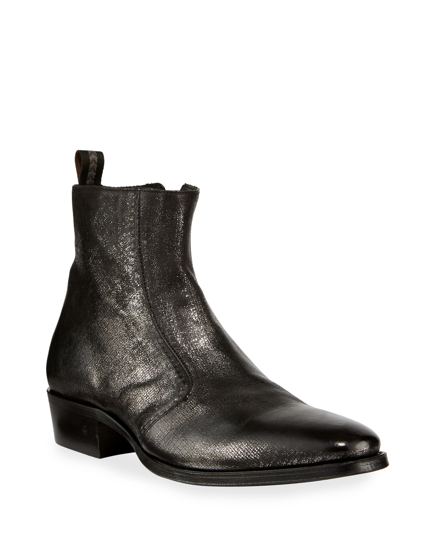 John Varvatos Boots MEN'S LUDLOW VINTAGE LEATHER SIDE-ZIP ANKLE BOOTS