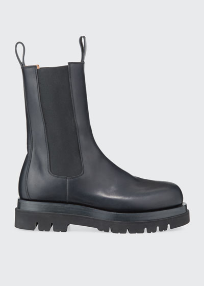 Men's Leather Chelsea Lug-Sole Boots