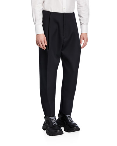 Mean's Pleated-Front Wool Trousers