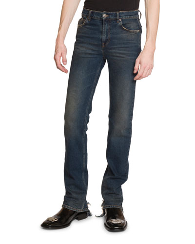Men's Fitted 5-Pocket Jeans with Hem Detail