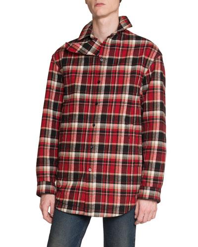 Men's Lightly Padded Plaid Shirt Jacket