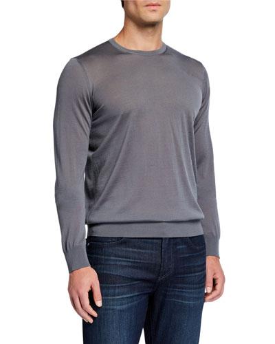 Men's Plain Knit Wool Sweater, Gray