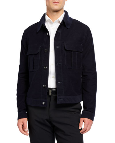 Men's Moleskin Jacket w/ Rib-Knit Collar