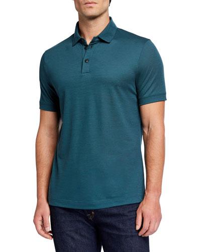 Men's Pure Wool Pique Polo Shirt, Green