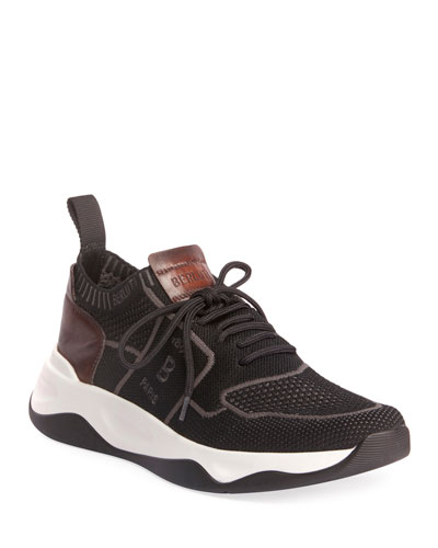 Men's Shadow Stretch-Knit/Leather Sneakers