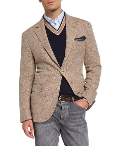 Men's Notch-Lapel Three-Button Herringbone Jacket