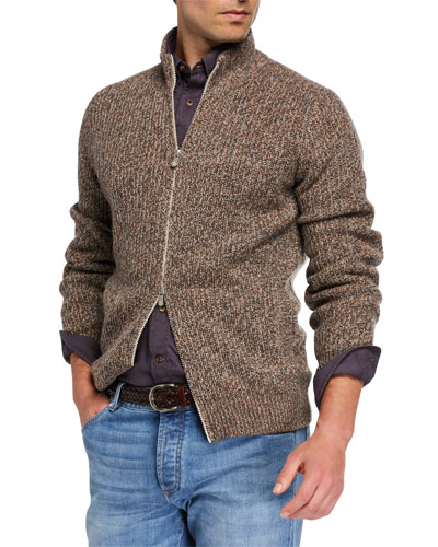 Men's Chunky Donegal Zip-Up Sweater
