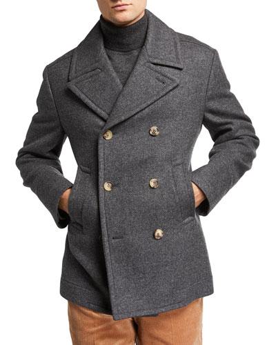 Men's Heathered Wool Pea Coat