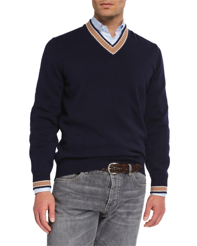 Brunello Cucinelli Sweaters MEN'S CASHMERE VARSITY SWEATER