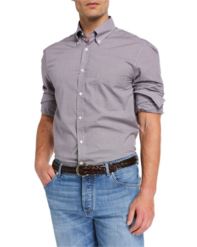 Men's Basic Fit Mini-Check Sport Shirt