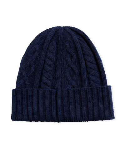 ca35cbce7 Men's Cabled Cashmere Knit Beanie Hat