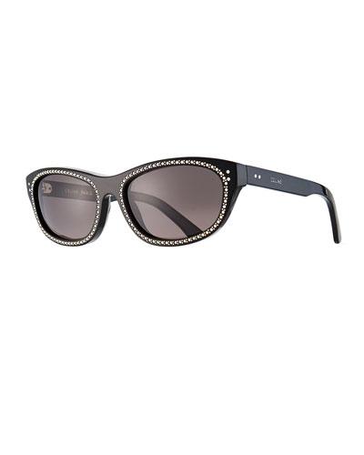 Men's Studded Cat-Eye Sunglasses