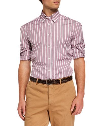 Men's Basic-Fit Striped Sport Shirt, Dusty Pink