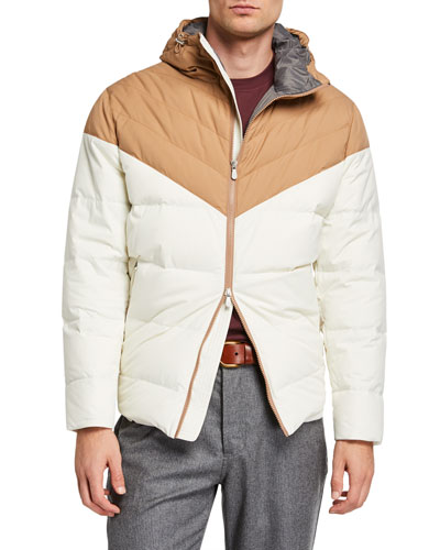 Men's Colorblock Padded Zip-Front Hooded Jacket