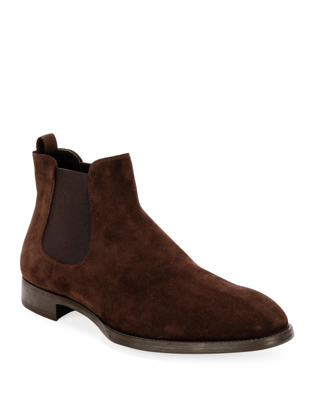 Giorgio Armani Boots MEN'S SUEDE CHELSEA BOOTS
