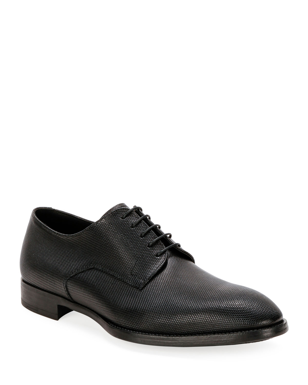 Giorgio Armani Shoes MEN'S TEXTURED LEATHER DERBY SHOES
