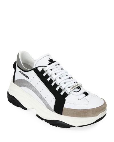Men's Colorblock Chunky Runner Sneakers, Black/White