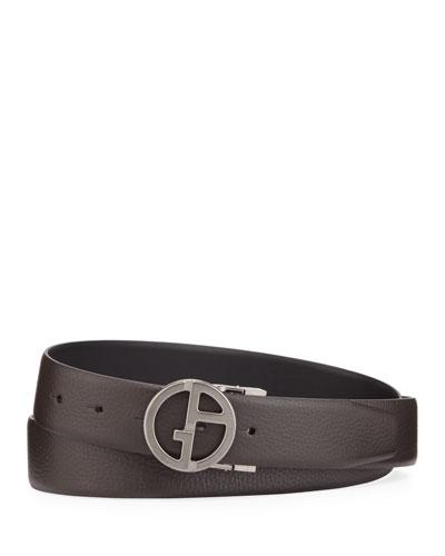 Men's Reversible GA Buckle Leather Belt, Brown/Black
