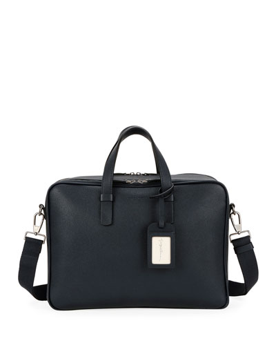 Men's Double-Zip Leather Briefcase Bag