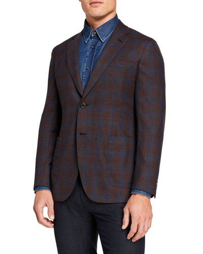 Men's Ombre-Check Two-Button Jacket