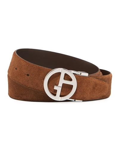 Men's Reversible Suede/Leather Logo-Buckle Belt