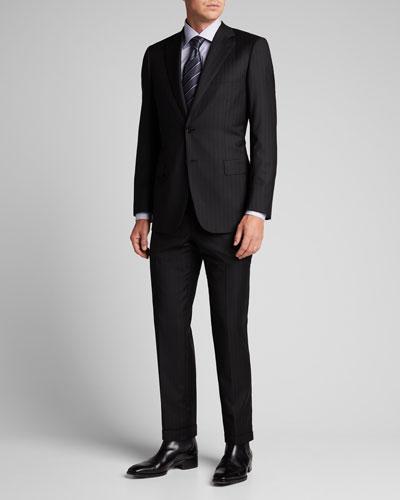 Men's Tonal Striped Two-Piece Suit