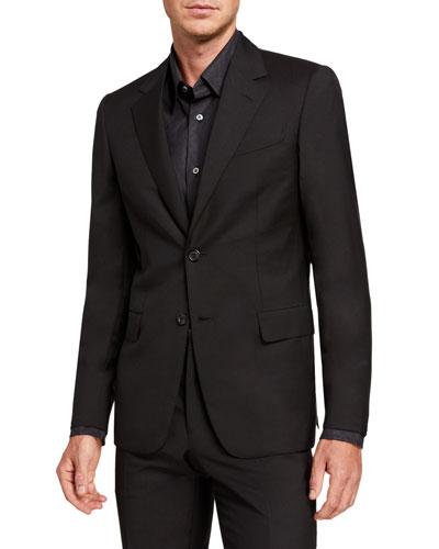 Men's Solid Two-Piece Virgin Wool Suit
