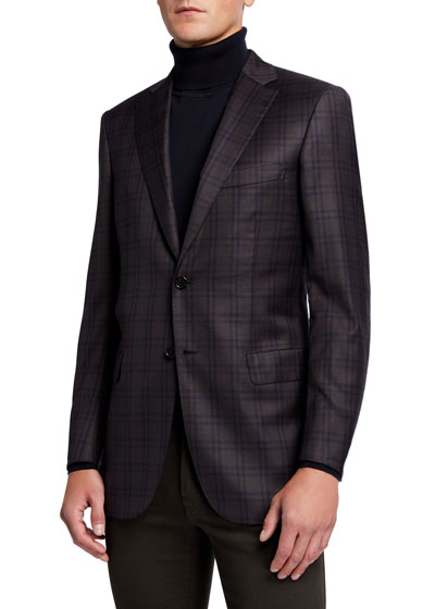 Men's Gingham Check Two-Button Jacket