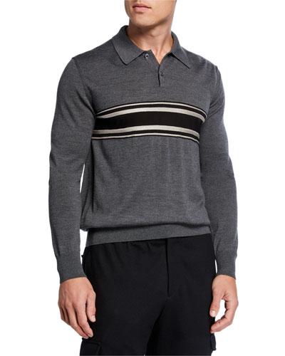 Men's Striped Virgin Wool-Cashmere Polo Shirt
