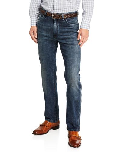 Men's Dark-Wash Straight-Leg Jeans