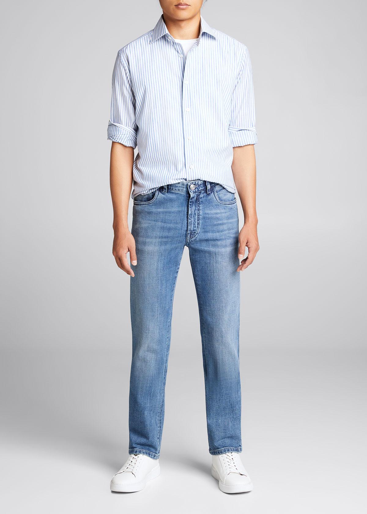 Brioni Jeans MEN'S MEDIUM-WASH STRAIGHT-LEG JEANS