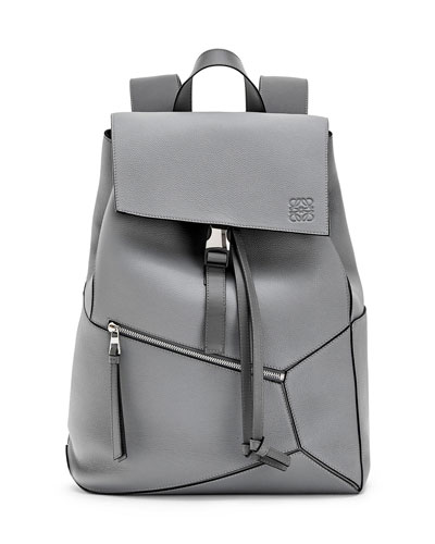Men's Puzzle Leather Backpack with Asymmetrical Details