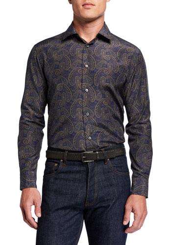 Men's Silk-Cotton Paisley Sport Shirt
