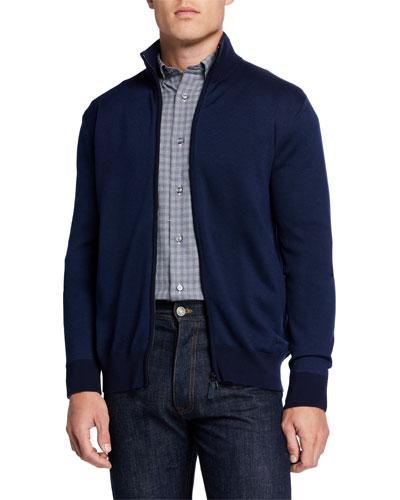 Men's Pique Zip-Front Sweater