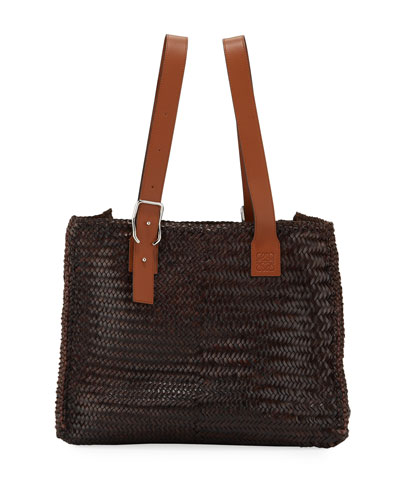 Men's Woven Leather Buckle Tote Bag