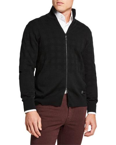 Men's Jacquard Wool Two-Way Zip Sweater