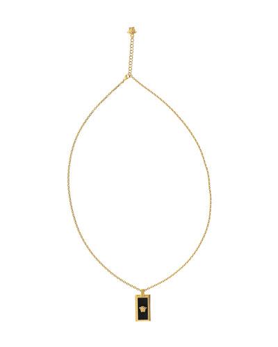 Men's Rectangle Medusa Head Pendant Necklace