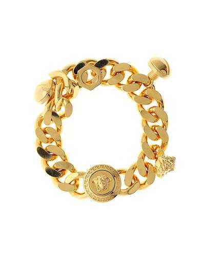 Men's Medusa Blackened Chain Charm Bracelet