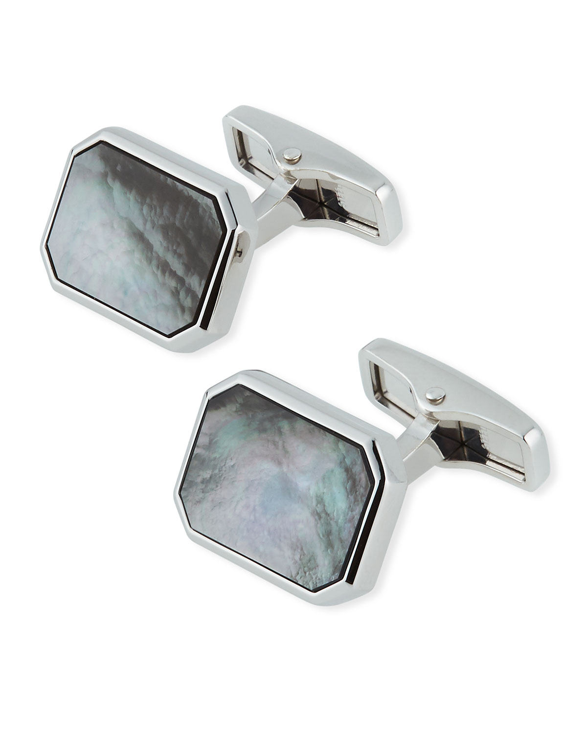 Dunhill Accessories CADOGAN GRAY MOTHER-OF-PEARL PLAQUE CUFFLINKS