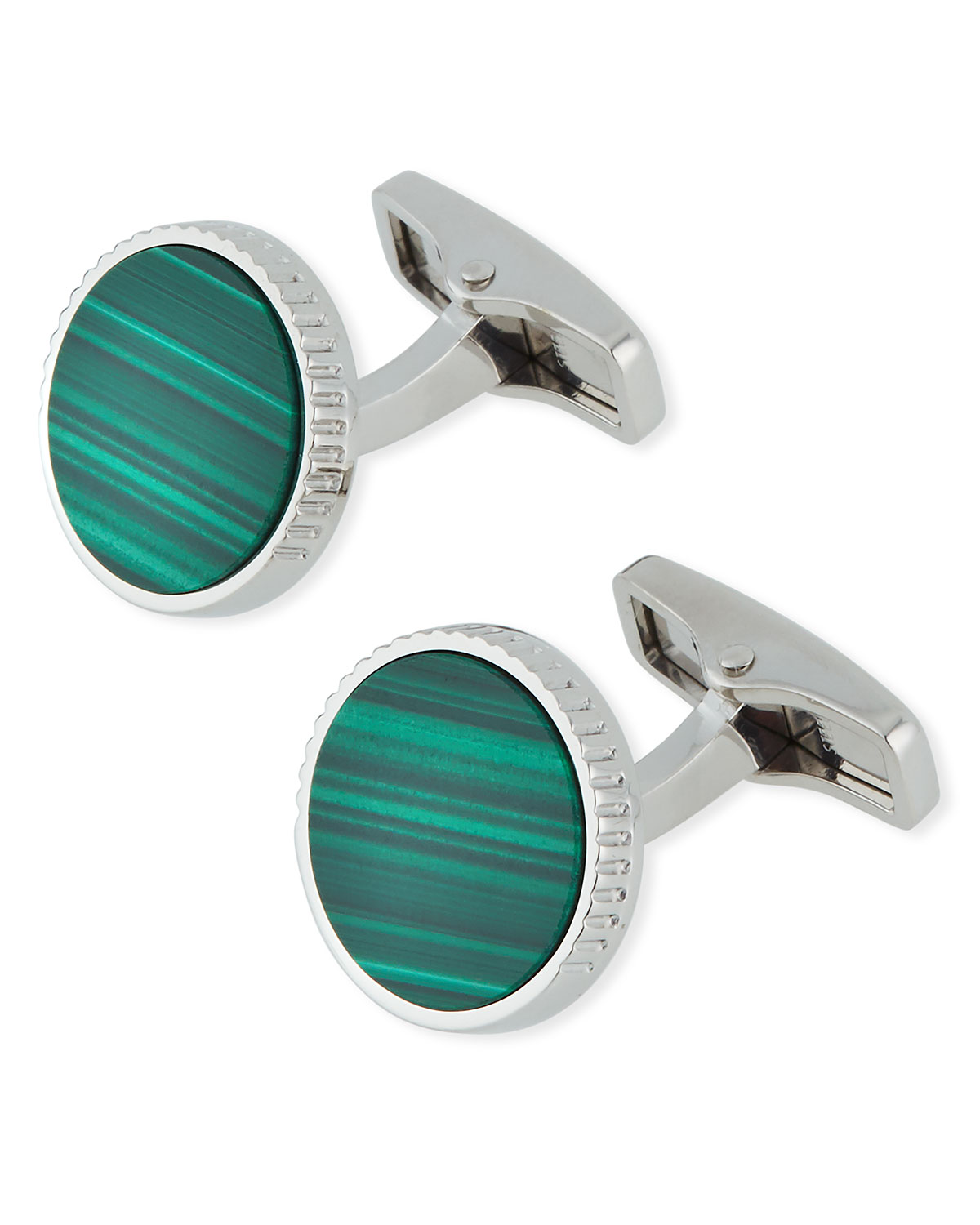 Dunhill Accessories RADIAL CIRCLE MALACHITE INLAY CUFFLINKS