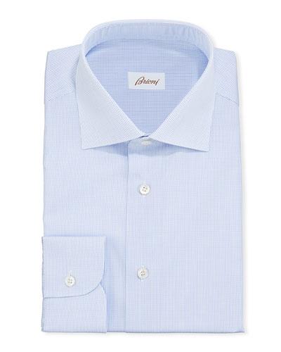 Men's Micro-Check Cotton Dress Shirt