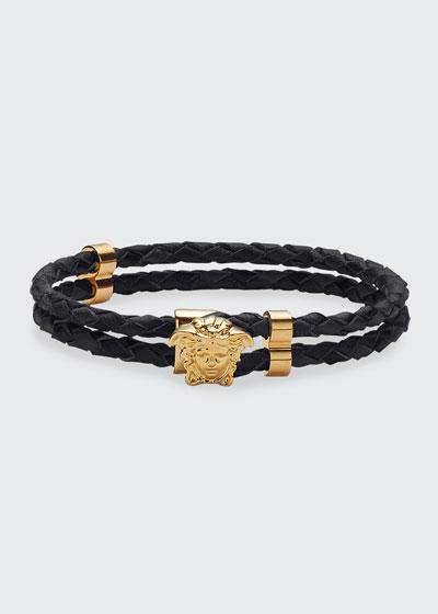 Men's Medusa Two-Row Braided Leather Bracelet