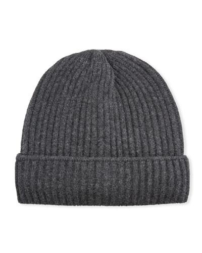 Men's Inigo Ribbed Cashmere Beanie Hat