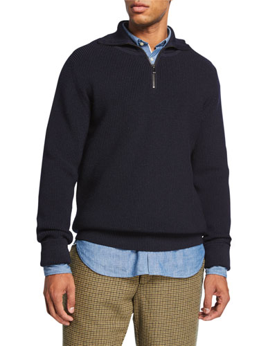 Men's Rikard Merino Wool Ribbed Quarter-Zip Sweater